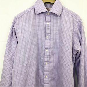 Thomas Pink Herringbone Twill Shirt French Cuff
